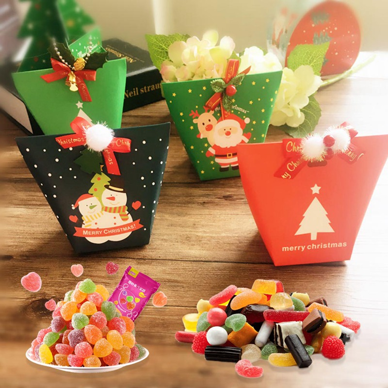 Christmas Gift Packing: Christmas Paper Gift Candy Box Christmas Tree Cartoon