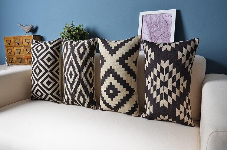Perfect Nordic Forest Geometric Lumbar Pillow Linen Pillow Cushion Pillow Home  Decor Sofa Cushions(China (