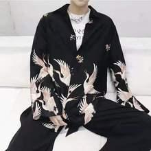 Harajuku Style Japanese Flying Crane Printed Long Sleeve Shirts Mens Hawaiian Male Casual Streetwear