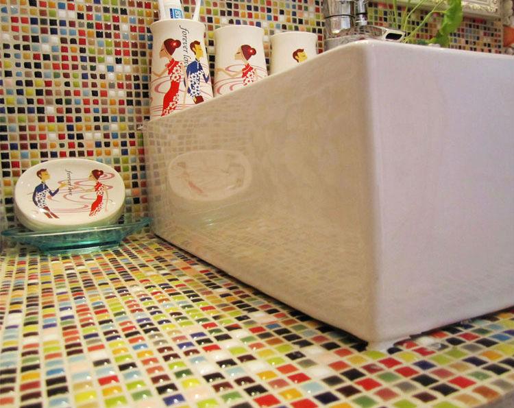 Porcelain Floor Tile Sheets Plating Slip Mosaic Mirror Bathroom Wall Mirror  Tiles Backsplash Stickers Kitchen Pool ... Part 33