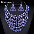 Minlover Blue&Green Colors African Beads Jewelry Set Crystal Peacock Tail Maxi Necklace Gold Plated Earrings for Women TL403