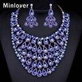 Minlover Blue & Green Cores Beads Africanos Conjunto de Jóias de Cristal Colar Banhado A Ouro Brincos para As Mulheres Da Cauda do Pavão Maxi TL403