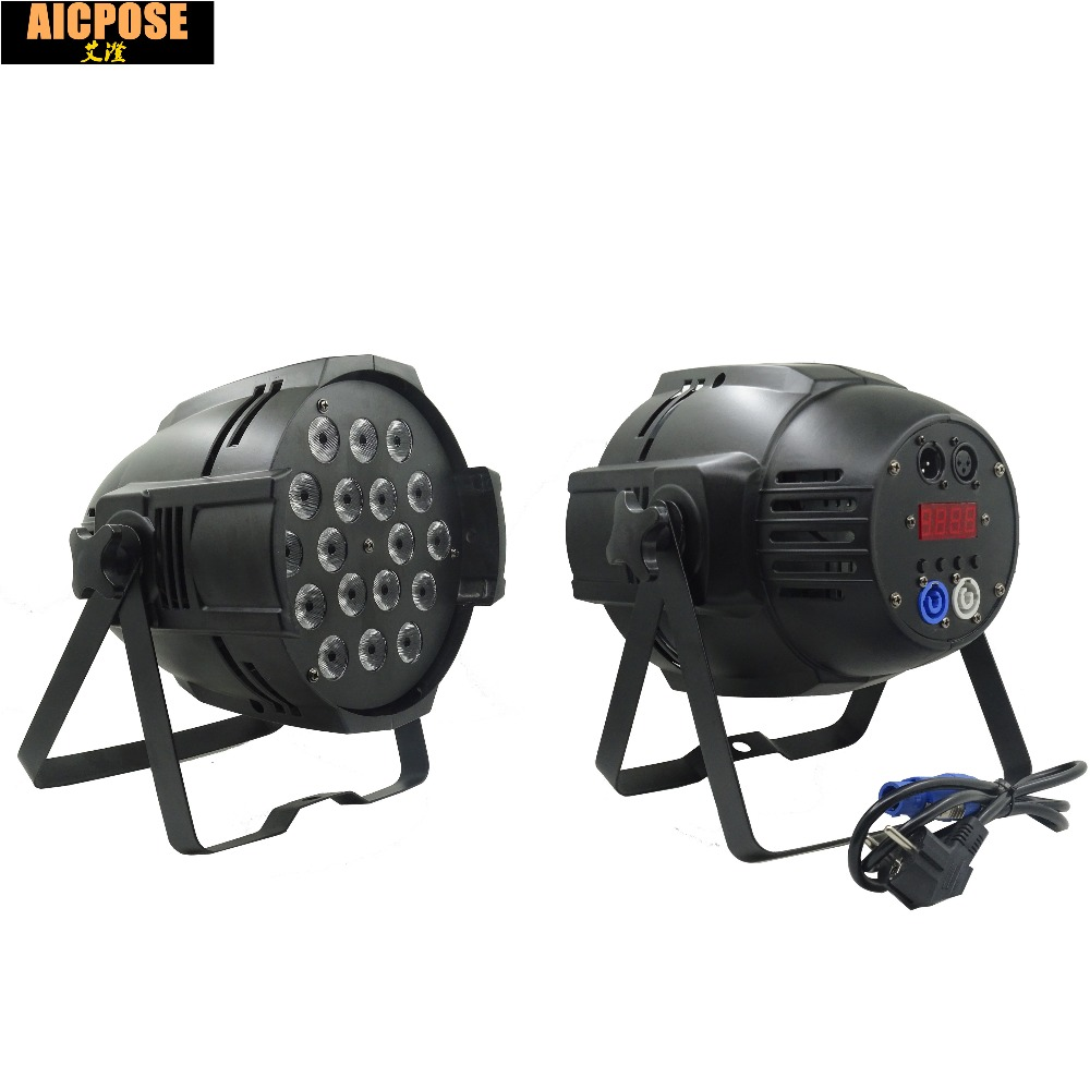 2pcs/lots 18*12w Lights Power in and out LED Par 18x12W RGBW 4in1 LED Par Can Par 64 led spotlight dj projector stage light 2pcs lot rgbw 4in1 18x12w led par full color disco lights dmx512 par led professional dj equipment dye with power in power out