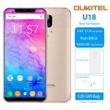 """Oukitel U18 5.85 """"HD 21:9 полный Дисплей мобильный телефон 4 г Оперативная память 64 г Встроенная память mtk6750t Octa core android 7.0 4000 мАч отпечатков пальцев Смартфон"""