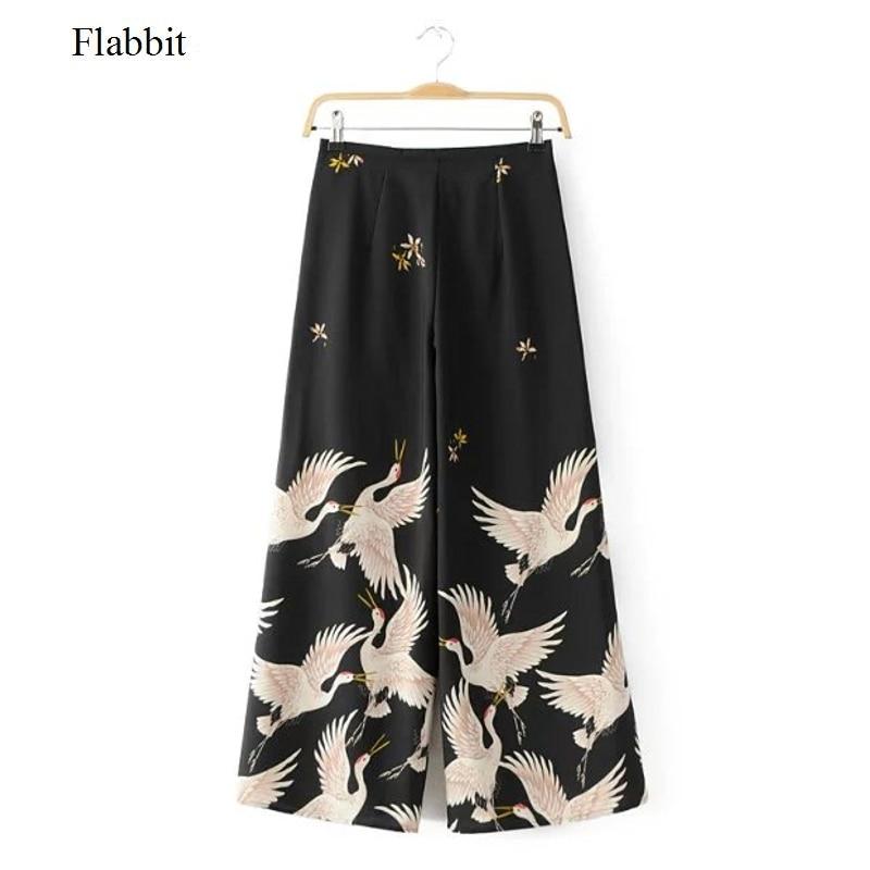 Flabbit Trousers Kimono-Pants Print Streetwear Vintage Casual Fashion Women Lady Mujer