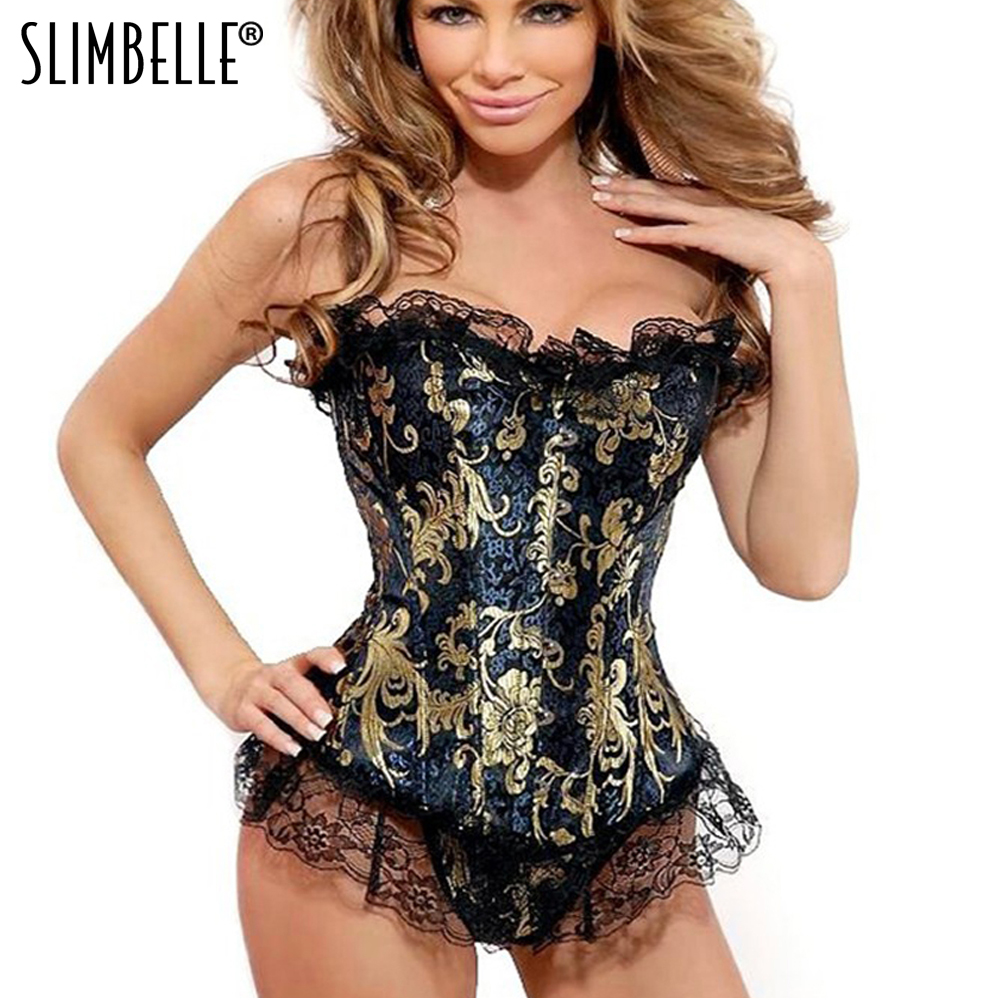 Women Sexy   Corsets   And   Bustiers   Lace Up Boned Overbust Costume Steampunk Waist   Corset   Dress Body Trainer Shapewear Top Plus Size