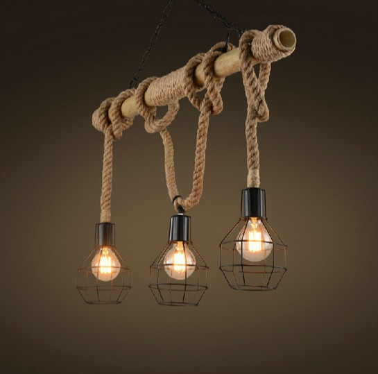 Edison Loft Style Bamboo Rope Droplight Industrial Vintage Pendant Light Fixtures For Dining Room Hanging Lamp Lustres De Sala loft style creative cement droplight edison industrial vintage pendant light fixtures for dining room hanging lamp lighting