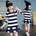 2016 Spring Autumn Long Sleeve Baby Girl Cotton Mini Dress Korean Style Striped Princess Dresses for Girls Children Clothing