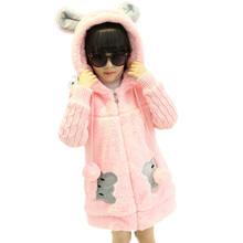 New Fashion Children Winter Coat Girl Cute Cartoon Faux Fur Coat Knitted Sleeve Thick Warm Overcoat For Girl DQ100