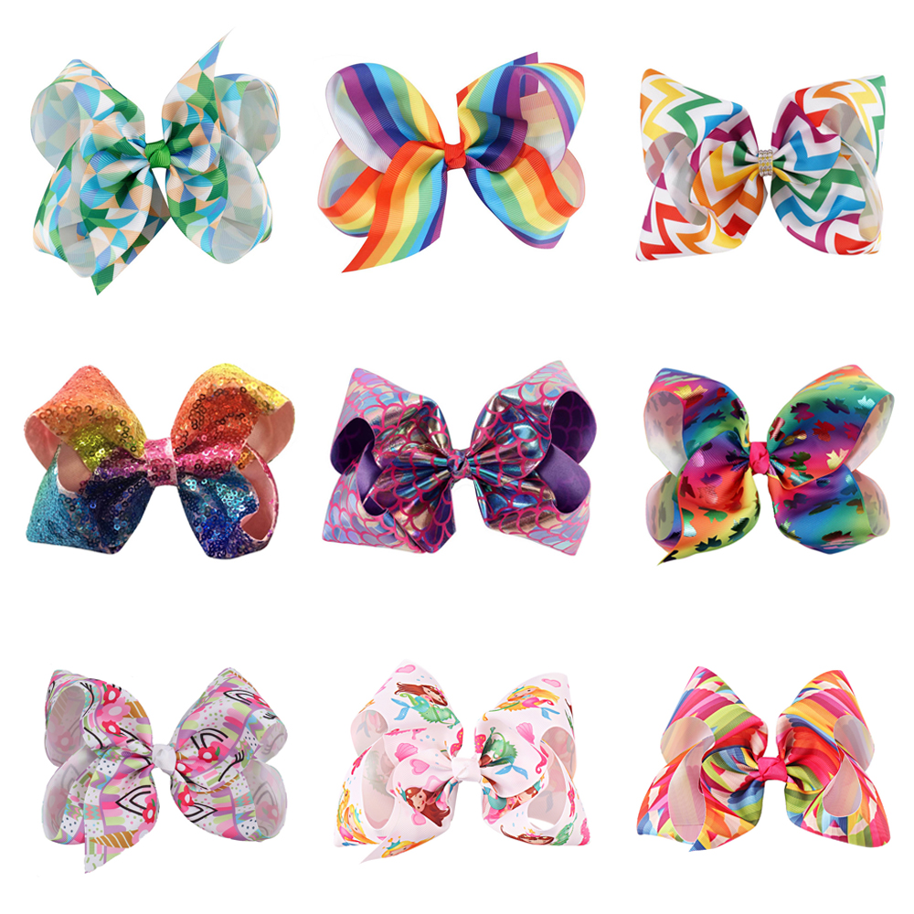 Promotion Print Hair Bows with Clips for Girls Grosgrain/Sequin Bowknot Hairgrips Rhinestones Hairbows Party Kids Headwear