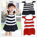HOT SALE Summer Style 100% cotton  kids girls dresses baby polo dress baby Pleated tennis dress Freeshipping
