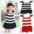 VENDA QUENTE de Verão Estilo 100% algodão crianças vestidos das meninas do bebê vestido polo bebê vestido Plissado tênis Freeshipping