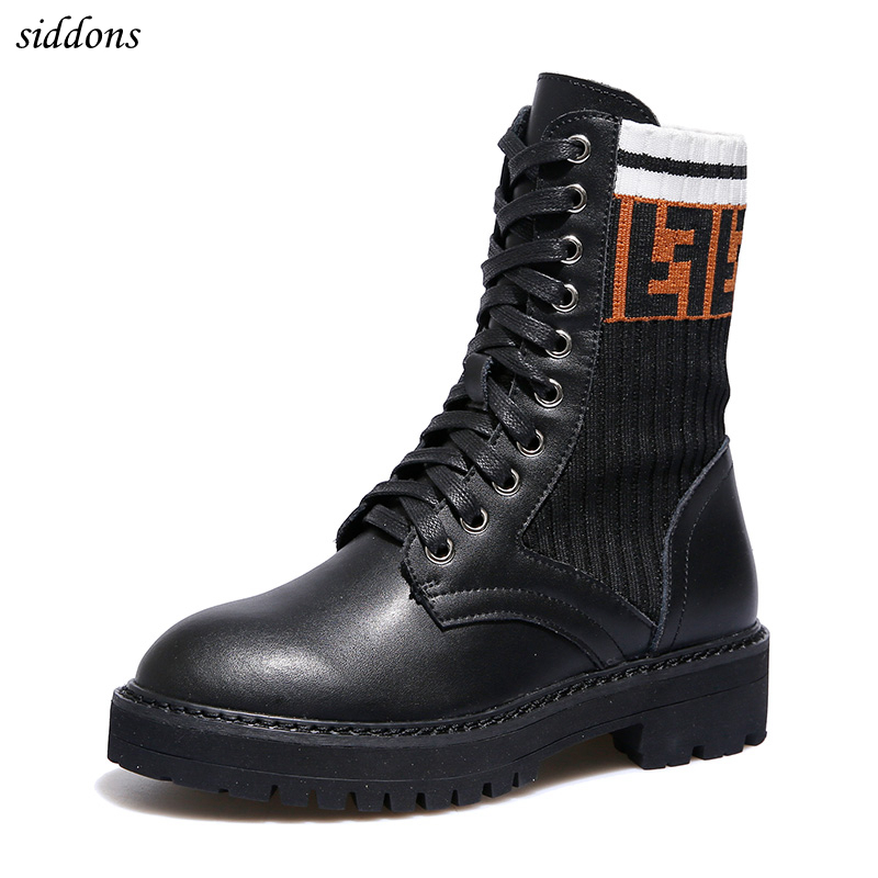 Siddons 2018 Winter boots Women Shoes Woman thick heel Ankle Boots Autumn genuine Leather Shoe Lace Up Black zapatos de mujer цена 2017