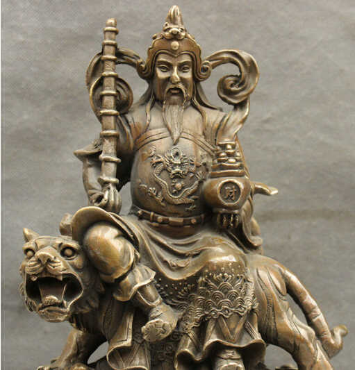 "WBY---412 + + + 12 ""Folk Cina Perunggu Tembaga Koin Naga Cai Mammon Allah Naik Harimau Patung Gada"