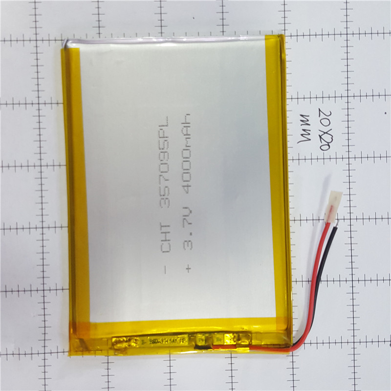 lithium polymer <font><b>battery</b></font> 3.5x70x95mm <font><b>3.7v</b></font> <font><b>4000mah</b></font> tablet <font><b>battery</b></font> 2 wire image