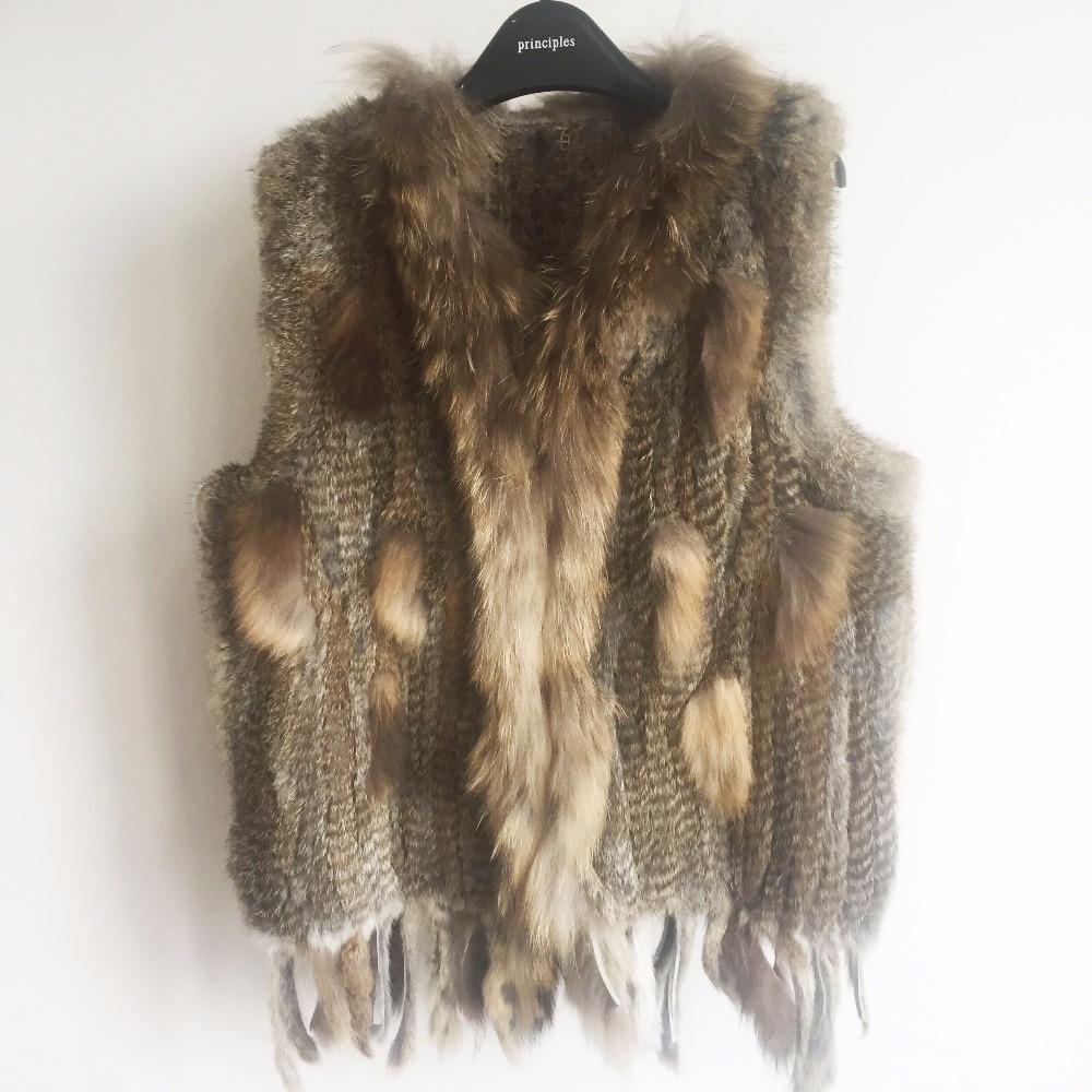 2019 New colors Women Genuine real Rabbit Fur Vest coat tassels Raccoon Fur collar Waistcoat wholesale