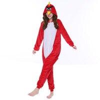 Free Shipping New Cute Cartoon Red Bird Pajamas Winter Style Warm Flannel Sleepwear Home Suit Christmas