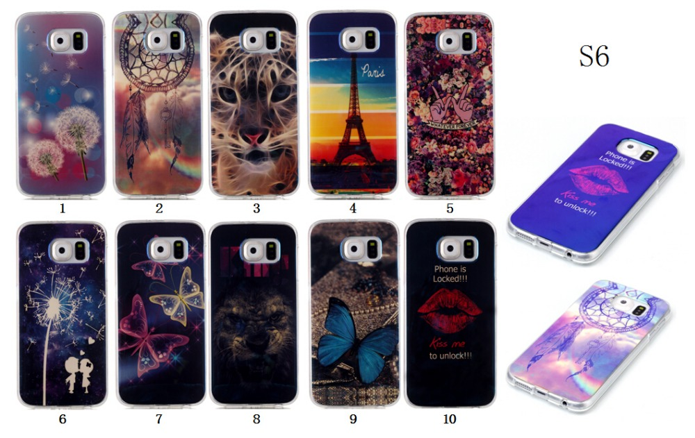 Blue-ray Diverse Pattern soft TPU phone case Bright shining Smooth cover For Samsung Galaxy S6 S6 edge S6 edge plus Cases Cover