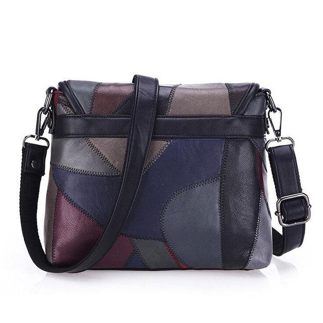 Genuine Leather Women Messenger Bags Rivet Patchwork Crossbody Bags Female Fashion Designer Handbags Shoulder Bag