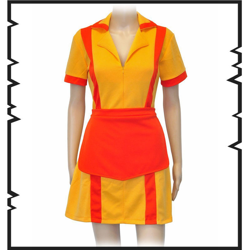 New Arrival 2 Broke Girls Same Dress Max Caroline Waitress Uniforms Ladies Cosplay Costume for Masquerade Party euro size