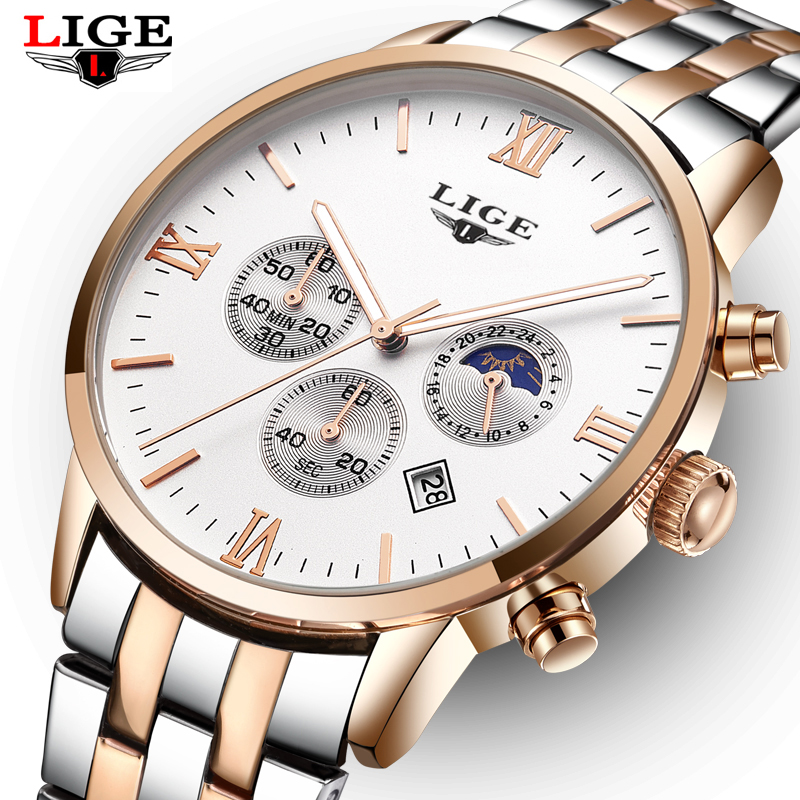 LIGE 2018 Top Brand Luxury Full Steel Watch Men Business Casual Quartz Wrist Watches Military Wristwatch Waterproof Relogio men watches lige top brand luxury men s sports waterproof mechanical watch man full steel military automatic wrist watch relojes