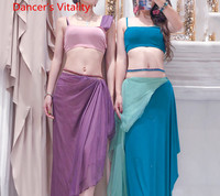 2019 New Belly Dance Practice Clothes Women Sexy Oriental Indian Dancing Glitter Top Long Skirt 2pcs Sets Performance Costume