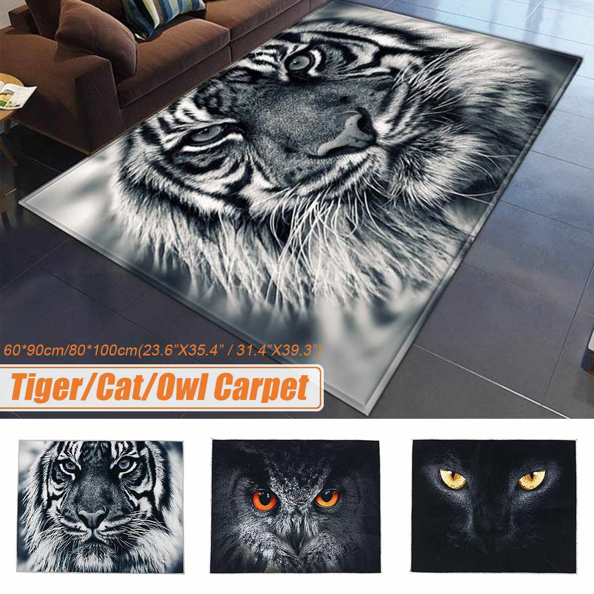 3D Cartoon Tiger Cat Owl Animal Carpet Living Room Table Mat Waterproof Non-slip Polyester Carpet Kids Bedroom Door Floor Rug