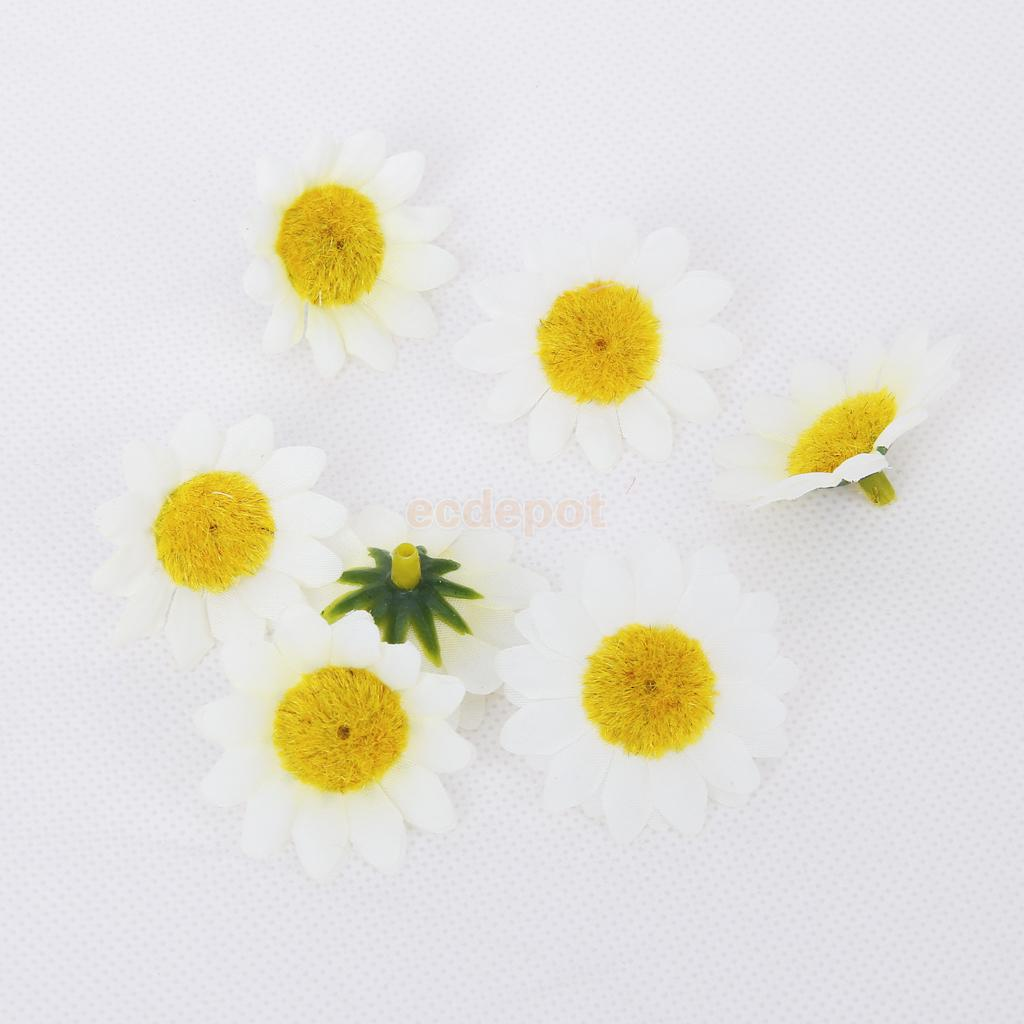 200pcs Yellow White Artificial Gerbera Daisy Flowers Heads For