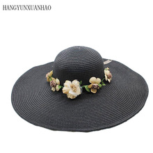 2019 Summer Fashion Floppy Flower Decoration Straw Hats Wide Brimmed Sun Foldable Beach For Women Girls Visor Hat