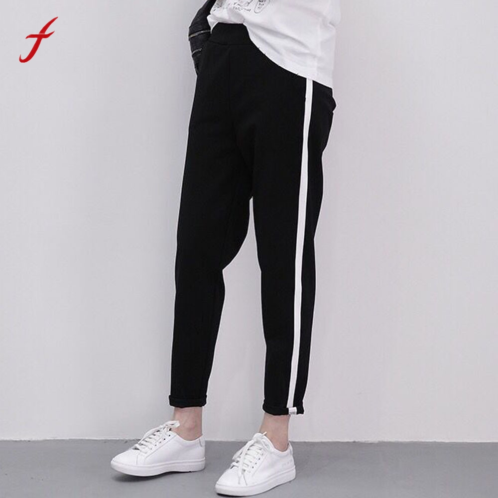 fashion women side stripes pants women black casual pants harem pants women pantalon femme ete. Black Bedroom Furniture Sets. Home Design Ideas