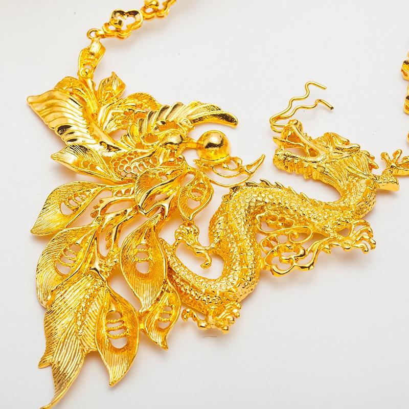 Rétro Dragon & Phoenix pendentif collier amulette de mariée mariage or rempli charme bijoux cadeau - 3