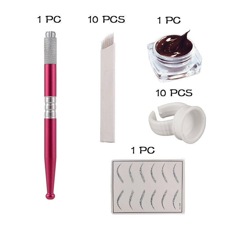 Microblading Kits with compelet Tebori Pen Eyebrow Paste Needle Blade Practice Skin inside eyebrow tattoo learner training use