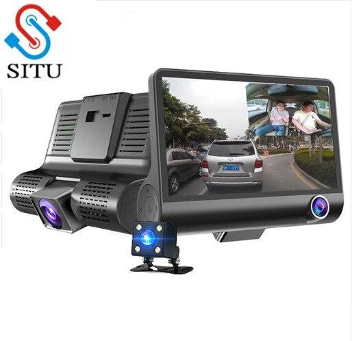 Situ 4.0'' 3 Way Dvr Camera Video Recorder Rear View Auto Registrator With Two Cameras Dash Cam Dvrs Dual Lens Blackbox