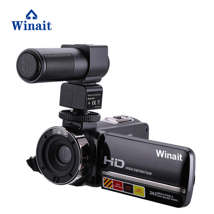 Winait Night Vision Infrared shot Digital video camera, 3.0'' touch display/16x digital zoom/24mp MINI DV support hot shoe winait electronic image stabilization hdv z8 digital video camera with recording function touch screen