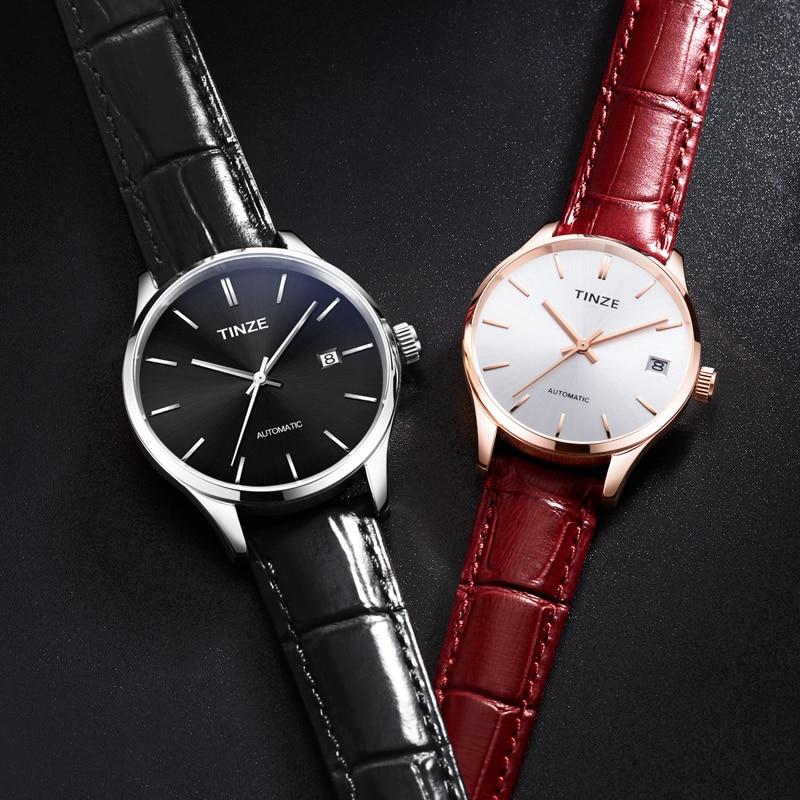 Montre de couple tendance montre minimaliste mince montres mécaniques pour les amoureux cadeau automatique auto-vent relogio feminino étanche
