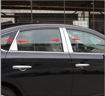 Stainless Center Pillar Window Trim 8pcs For Nissan Sentra Sylphy 2012-2016