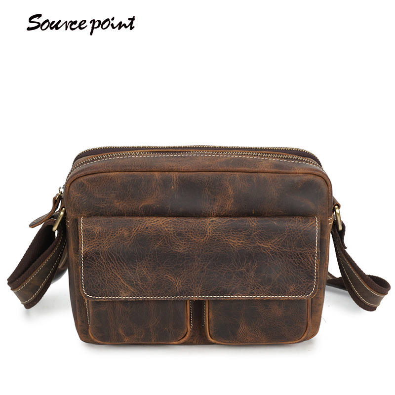 YISHEN Men's Crazy Horse Genuine Leather Crossbody Bags Large Capacity Messenger Bags Male Casual Vintage Shoulder Bags YD01205# yishen vintage genuine leather men crossbody bags business travel messenger bags casual large capacity male shoulder bag mlt2761