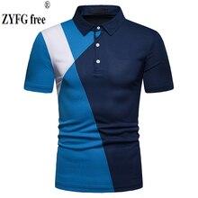 Fashion brand mens stitching style short-sleeved t-shirt turn-down collar t-shirst Slim shirt T-shirt summer