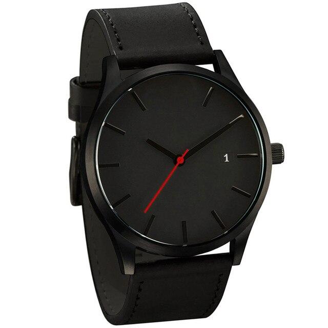 Low-key watches Minimalist Connotation Leather Men's Quartz Wristwatch relogios