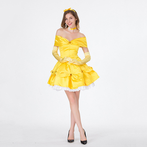 Image 1 - VASHEJIANG Classic Anime Belle Princess Costume Beauty and the Beast Costume Women Fantasia Halloween Costumes Fancy Party Dress