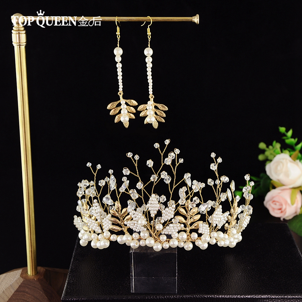 TOPQUEEN HP196 Crown And Earring Bridal Tiara Pearls Wedding Hairband Bridal Earring Bride Hair Jewelry Wedding Hair Accessories
