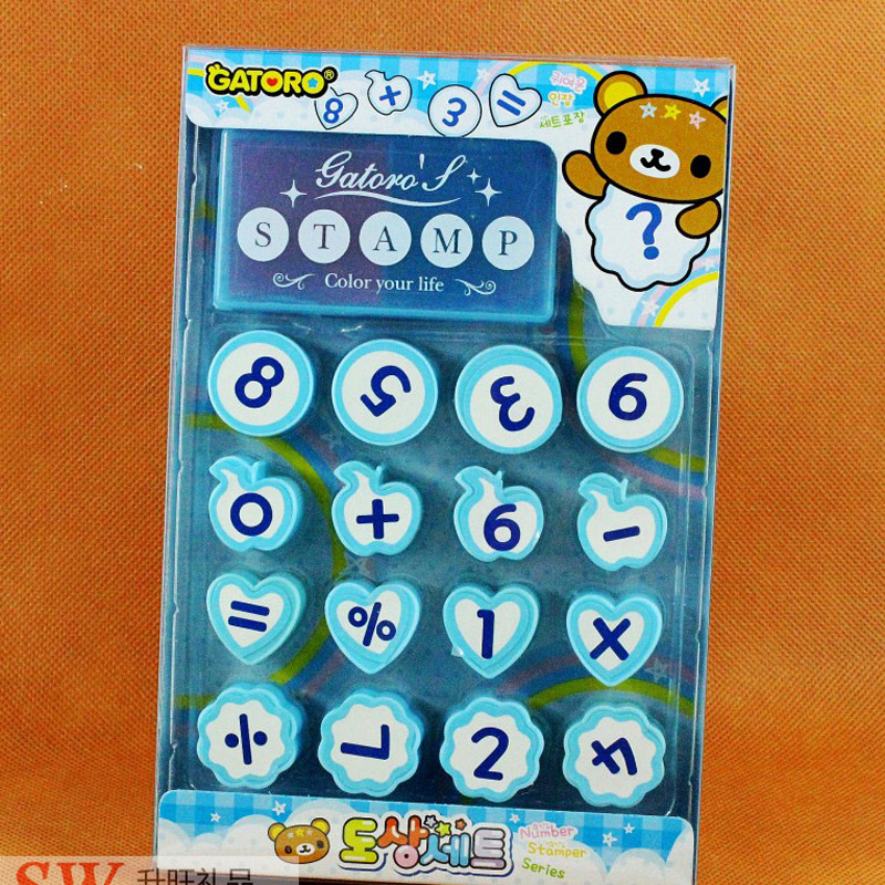 16pcs/set Kids Cartoon Number Count Stamps Children Arithmetic Toys Plastic Rubber Self Inking Stampers Toys