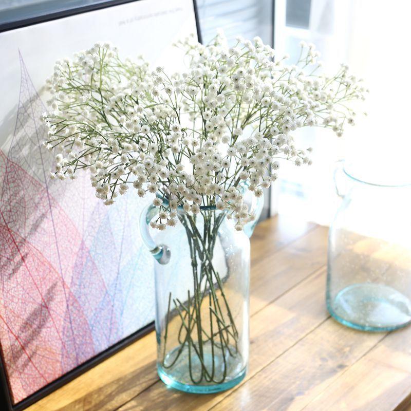 White Babies Breath Artificial Flowers Plastic Gypsophila DIY Floral Bouquets Arrangement Wedding Home Decor 90 Flower Heads(China)