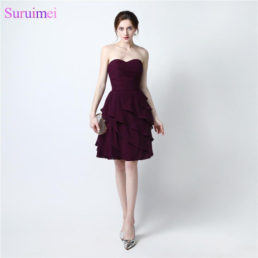 2017 short bridesmaid dresses chiffon knee length dark for Short wedding dress sale
