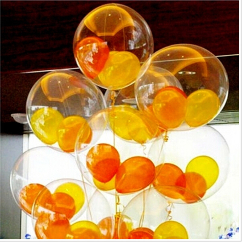 2016 ballon transparent (100pieces / lot) 12 pouces 2.8g rond transparent ballon en latex transparent joyeux anniversaire décoration