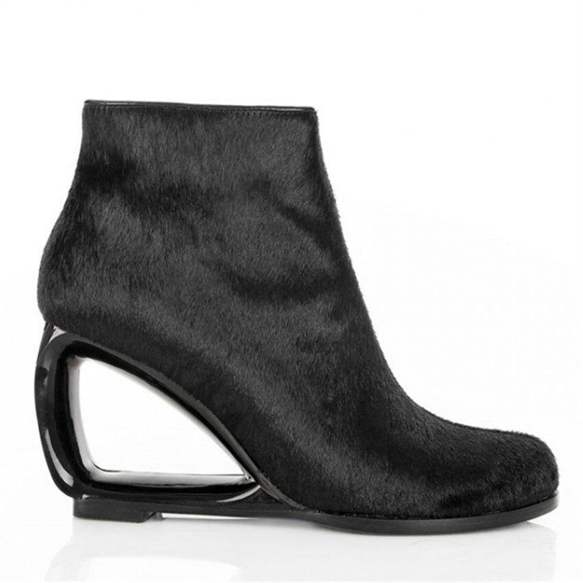 Fashion Horsehair Women Ankle Boots Genuine Leather Strange Heel Bota Feminina Black Side Zipper Botas Mujer