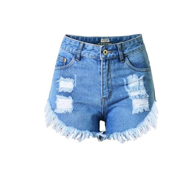 Fashion vintage Jeans female 2017 Sexy tassel fringed High Waist Denim Shorts women irregular Hole Punk Rock Hot Shorts