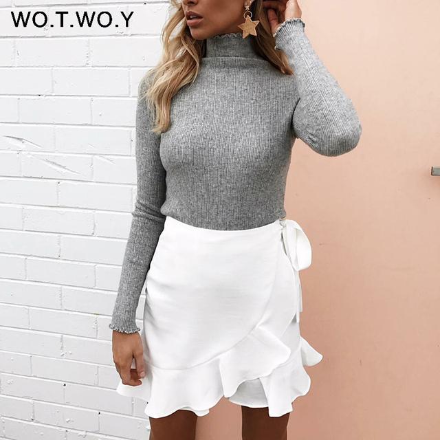 WOTWOY Long Sleeve Turtleneck Bottoming Sweaters Women Solid Basic Pullovers Slim Fit Knitwear 2017 Women Sweater Winter Knitted