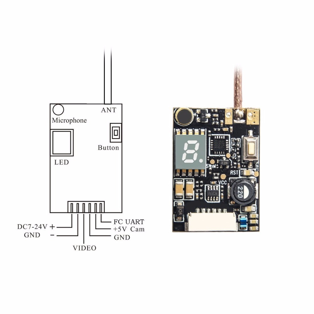 Akk X2p 58ghz 40ch 001mw 25mw 200mw 500mw 800mw Switchable Fpv Mw Transmitter Circuit With Pigtail Compatible Betaflight Osd Fc In Parts Accessories From Toys