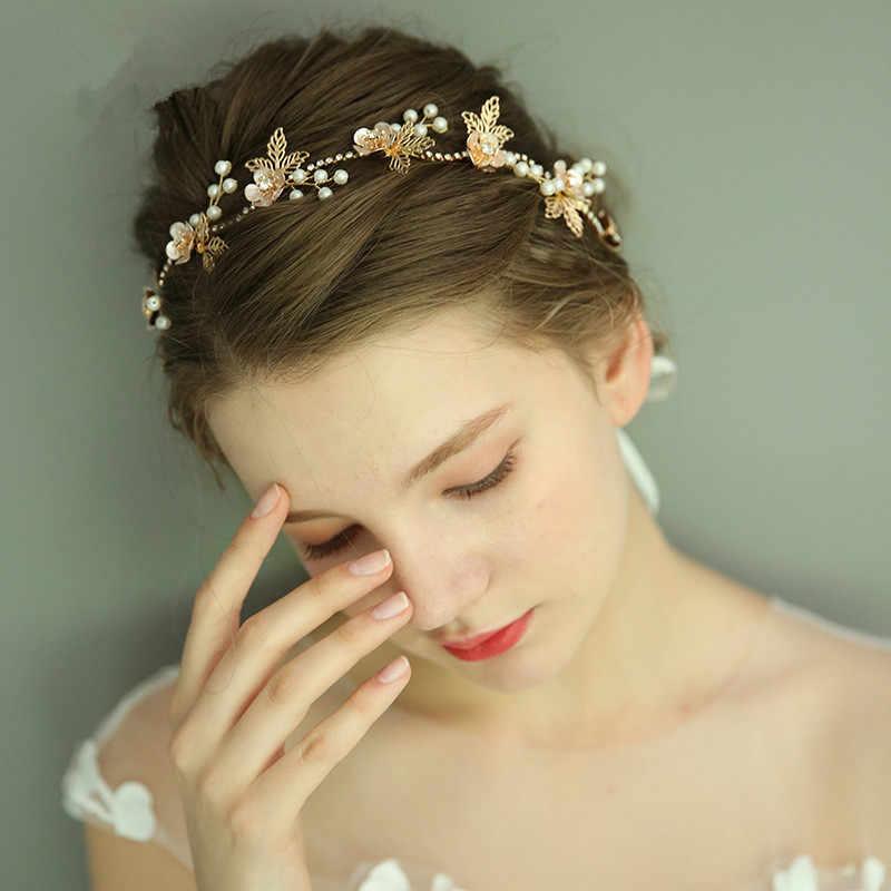 JaneVini nueva diadema nupcial de oro occidental Metal flores perlas hoja boda tocado elegante joyería de la boda accesorios para el cabello